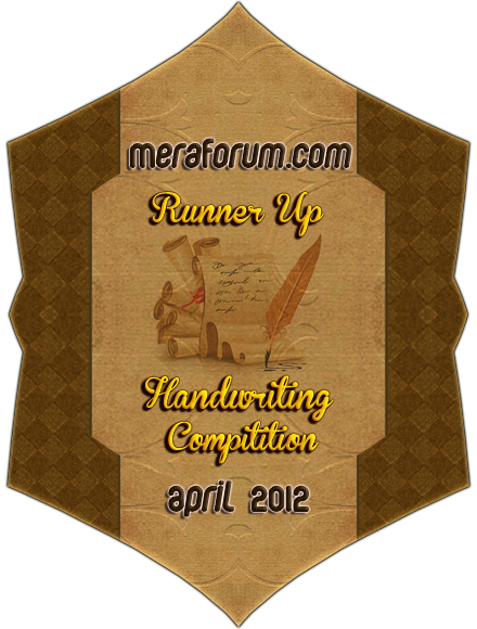 handwriting runner up